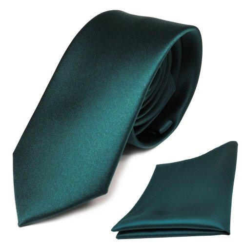 TigerTie - schmale Designer Krawatte Einstecktuch in grün petrol einfarbig uni