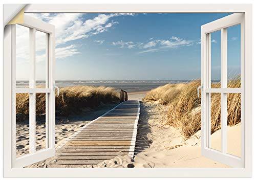 Artland Wandbild selbstklebend Vinylfolie 100x70 cm Wanddeko Wandtattoo Fensterblick Fenster Fenster Nordsee Strand Meer Düne Langeoog Urlaub T5RQ