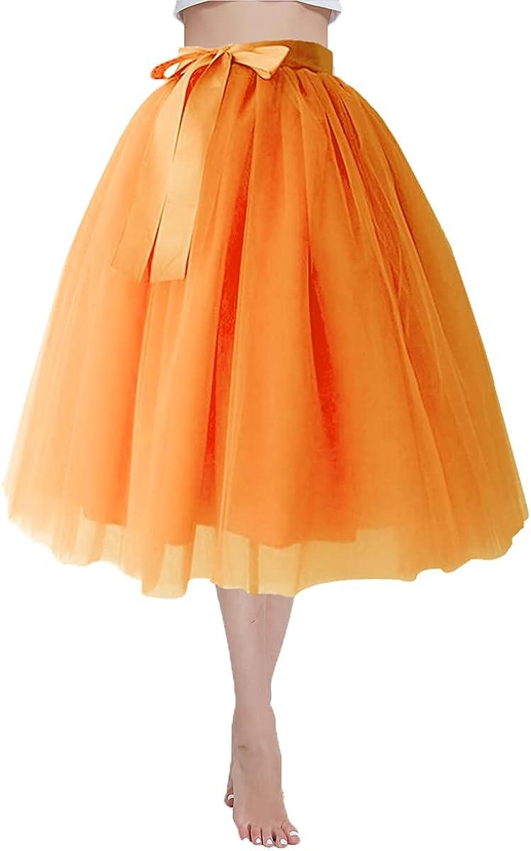 JOEupin Women's 6 Layer Short A Line Elastic Waistband Tutu Tulle Prom Princess Midi Dance Skirt