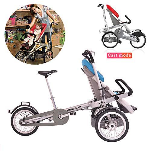 Kinderfahrrad 2 in 1 Kombi-Kinderwagen Faltbare Mutter-Kind-Auto Abnehmbar 2 Modi Free Convertible Fahrmodus + Kinderwagen-Modus Can Sit-and-Ride Adult Unisex,Blau