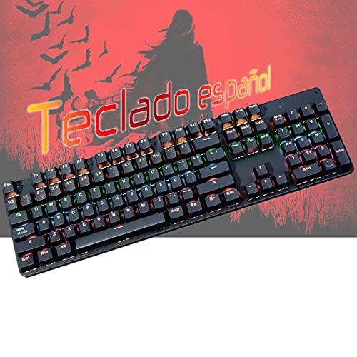Teclado Gaming mecánico español, Teclado Gamer, Teclado USB, Teclado Gaming PS5 LED Retroiluminado con Cable USB, Teclado para PC/Portatil / PS4 / PS5 / Xbox...