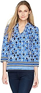 RUBY RD. Women's 3/4 Sleeve Funnel-Neck Printed Cotton Knit Top