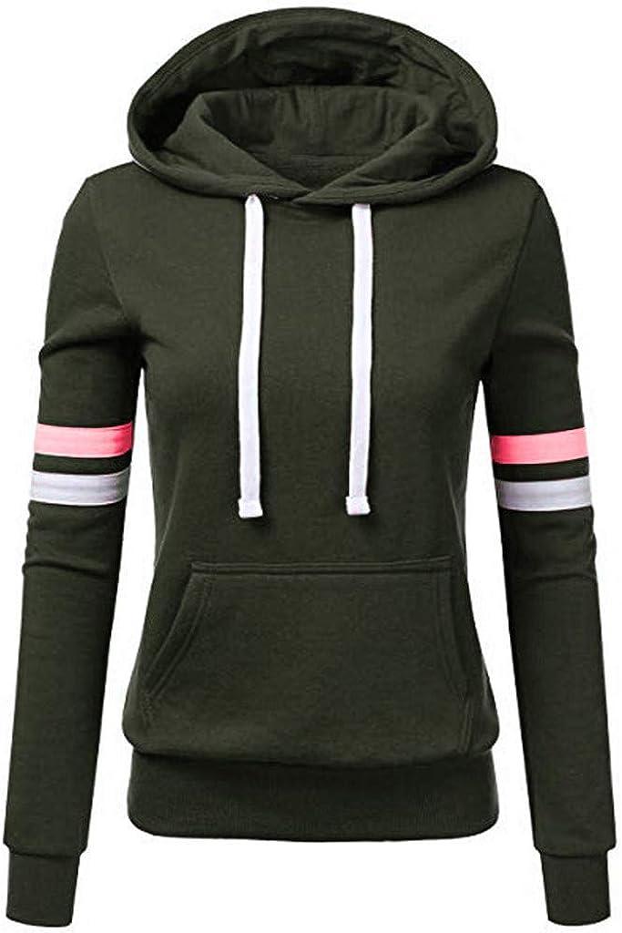 INESVER Sport Hoodie for Women Casual Comfy Long Sleeve Sweatshirt Pullovers Color Block Sweaters Coat