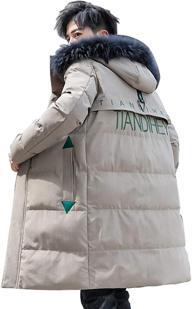Down Jacket Men's Winter Jackets, Warm and Thick Hooded Winter Clothing, Medium Long Filler:Imitation Silk Cotton(Size: M, L, XL, 2XL, 3XL) Khaki