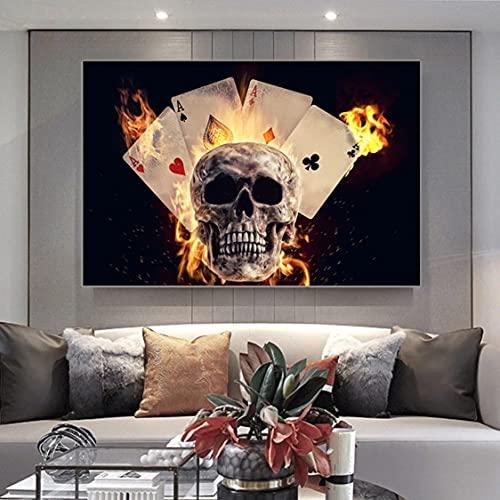 Danjiao Canvasmålningar brinnande spelkort skalle väggkonst affischer och tryck modern hem dekor vägg bild för vardagsrum Cuadros vardagsrum dekor 60 x 90 cm