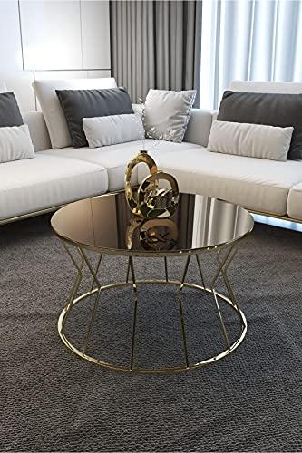 Hong Yi Fei-Shop Mesas de café Diseño de Mesa de café Robusta Redonda de Lujo mesas de Mesa de Mesa for pequeños Espacios de Mesa de té Mesa de Centro (Color : Gold Bronze)
