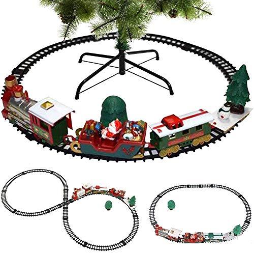 Lelesta Trenino Natalizio sotto Albero 3in1 Locomotiva Luci Suoni con Vagoni + Slitta Babbo Natale Decorazioni Natalizie 3 Piste Giocattolo Bambini