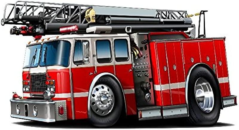 MM Firetruck 2014 Wall Decal Fire Truck Firefighter Graphic Vinyl Childrens Removable Reusable Kids Room Man Cave Garage Den Art Sticker Decor