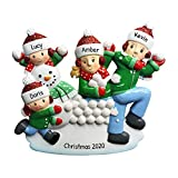 Personalized Family of 4 in Snowball Fight...