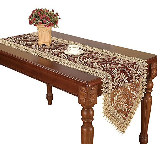 Simhomsen Burgundy Lace Table Runners Dresser Scarves Embroidered Leaves 16 × 72 Inch