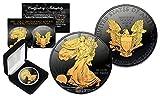 Black RUTHENIUM 1 Oz .999 Fine Silver 2017 American Eagle Golden Engima with BOX