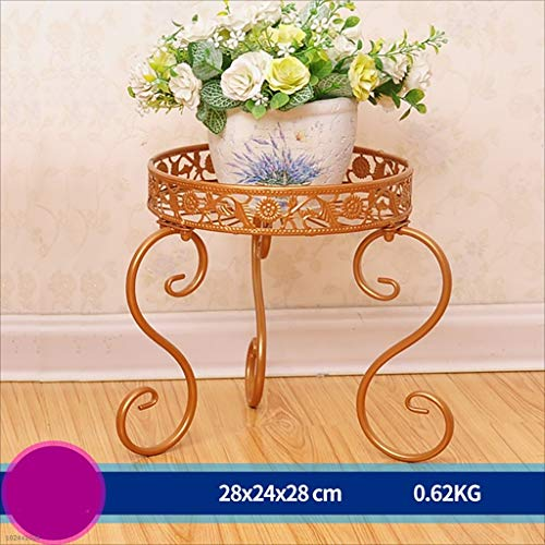 Balcon voyantes Support à fleurs en fer balcon intérieur et extérieur étagère à fleurs multifonctionnelle Plantes d'extérieur Présentoir (Couleur : Or)