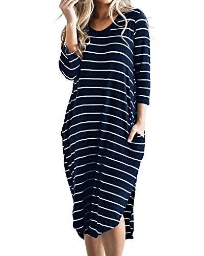 CNFIO Damen T Shirt Kleid Übergröße Boho Streifen Kleid Herbst 3/4 Langarm Kleider mit Tasche C-Blau EU44