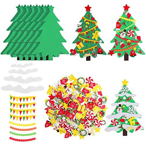 Elcoho 24 Kits DIY Foam Christmas Tree Foam Crafts Xmas Party Favors Christmas Foam Stickers for Making Crafts Christmas Tree Fun Home Activities