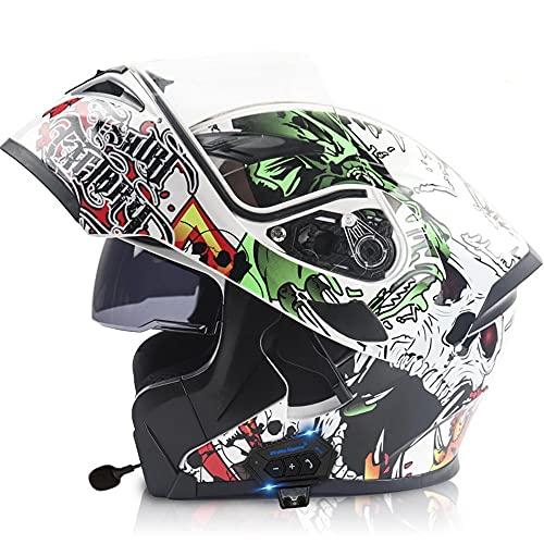 Motorcycle Bluetooth Helmet,DOT Approved Anti-Fog Double Visor Modular Full Face Motorbike Locomotive Helmet Built-in Mp3 FM Broadcast Integrated Intercom Communication System