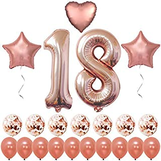 Rose Gold 18 Birthday Decorations, Large, Pack of 19   18 Balloon Numbers 1 and 8   Rose Gold 18th Birthday Party Supplies Kit for Girls   18 Year Old Bday   18 Balloons for 18th Party Decor