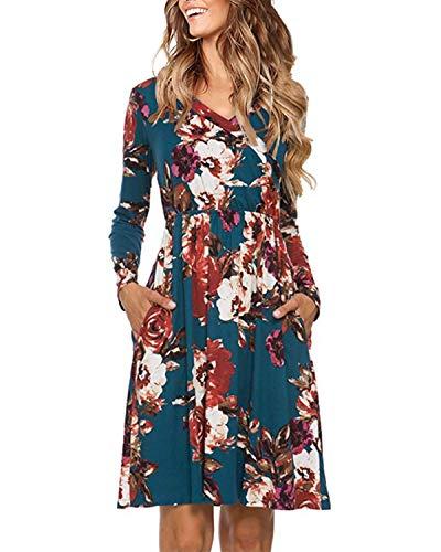Auxo Damska sukienka wieczorowa, długa sukienka w kwiaty, sukienka maxi, sukienka balowa, elegancka