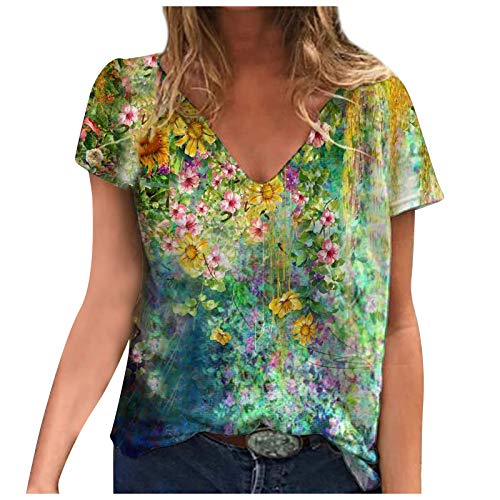 Womens Tops Dressy Casual?Trend Comfy Landscape Floral Print Sexy Fashion Loose V-Neck Short-Sleeved Pullover Hoodies