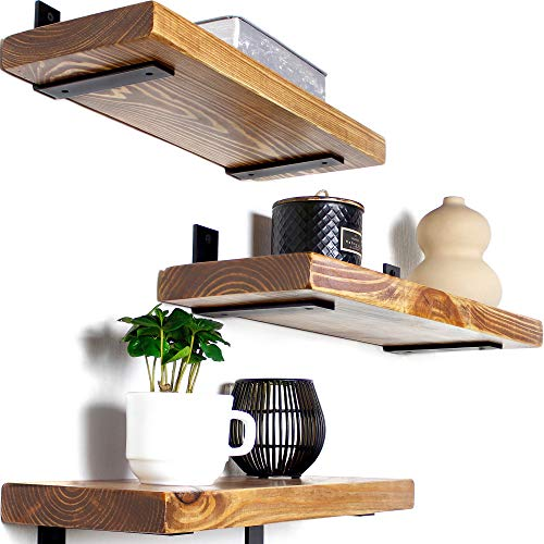 Rustic Wood Floating Shelves - Wooden 3 Tier Wall Shelf - Natural Pine, Oil Finish, Farmhouse Shelfs Wall Mounted for Bathroom Kitchen Bedroom Living Room, Set of 3 (Oak, 17' x 5.9')
