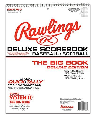 RAWLINGS Big Book Baseball Scorebook Deluxe Punktebuch, Schwarz, 24 Games