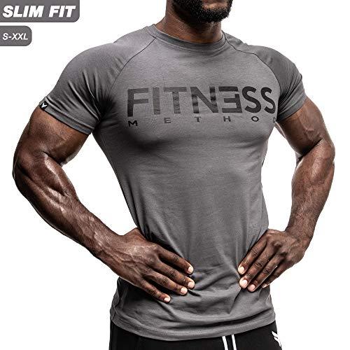 Fitness Method, Sport T-shirt Herren, Slim-Fit Shirt bequem & hochwertig Männer, Rundhals & Tailliert, Training & Freizeit, Gym & Casual Workout Mann, 95% Baumwolle, 5% Elastan,(Anthrazit - Schwarz S)