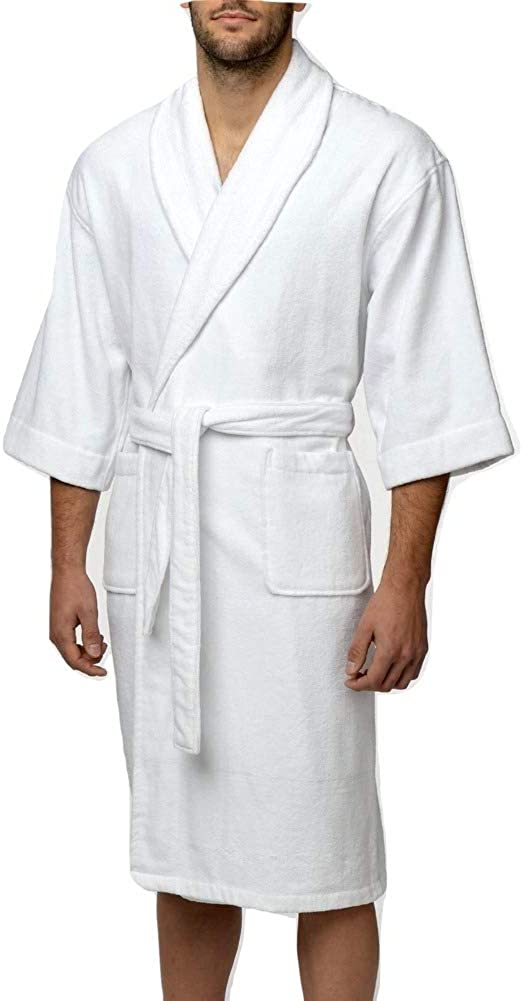 Big and Tall Thirsty Terry All Cotton Plush Woven Shawl Collar Robes to 5X Tall in 4 Colors