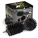 Drill Brush Power Scrubber by Useful Products - Grill Cleaning Brush Drill Attachment Set - powerscrubber Drill Brush Cleaning Tool - Baked on Food Remover Brush - Black Bristle Brush Attachment