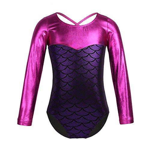 YOOJIA Girls Snow Queen Mermaid Sparkle Long Sleeve Gymnastic Athletic Dancing Leotard Ballet Dance wear Costumes Purple 5 6 Years