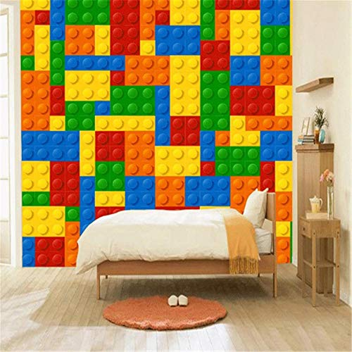 Mural Wall Sticker Photo WallpaperCustom Size 3D Wall Murals Wallpaper for Living Room Lego Bricks Children's Bedroom Toy Store Non-Woven Mural Wallpaper Decor-About 150 * 105cm