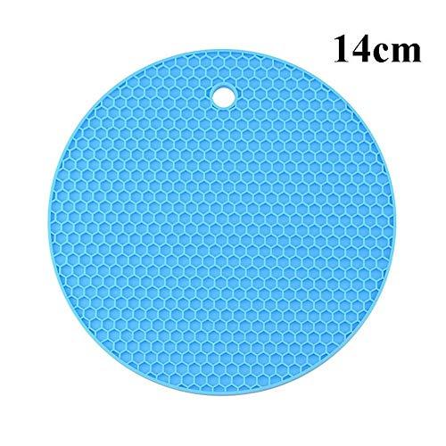 XINGJIJIJIA Opener 18/14 / 9cm Untersetzer for Küchenhelfer Silikon Hitzebeständige Antirutschmatten Isolierung Pad Tischset Küchenzubehör Waren Handbuch (Color : 14cm Blue)