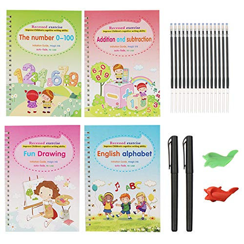 Magic Practice Copybook for Kids, Reusable - Number & Letter Tracing Books, Drawing & Math Practice Books - Print Handwriting Workbook for Beginners, Preschoolers & Kindergarten Kids Ages 3-6