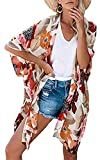 Kimono largo floral o estampado, de gasa, para playa, diseñ