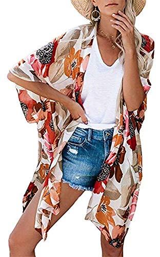 Kimono largo floral o estampado, de gasa, para playa, diseño boho, parte delantera abierta, holgada, blusa verano para mujer blanco B M
