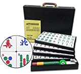 Mose Cafolo Chinese Mahjong X-Large 144 Numbered Melamine Tiles 1.6 Inch Large Tile with Black Carrying Travel Case Pro Complete Mahjong Game Set - (Mah Jong, Mahjongg, Mah-Jongg, Mah Jongg, Majiang)