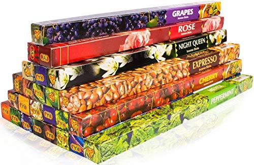Premium Räucherstäbchen Mix von Luxflair: 25 unterschiedliche Packungen von fruchtig bis klassisch, XXL Großpackung, Set original indischer Räucherstäbchen