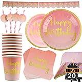 102 Piezas Color Rosa y Dorado para Celebración de Cumpleaños Infantil – Artículos de Fiesta Desechables de Cartón - Vasos, Platos, Mantel, Servilletas y más – Accesorios de Vajilla y Decoración