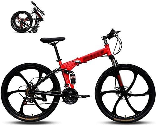 XinQing-Bicicleta Bicicleta de montaña de 26 Pulgadas, Apto de 160 a 185 cm, Freno de Disco, 24 Engranajes de Velocidad, la suspensión Tenedor, Niños Bici y de los Motociclistas (Color : Red)