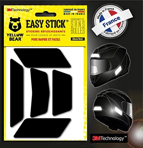 Yellow Bear© Easy Five ™, Kit 5 Stickers Retro réfléchissants REPOSITIONNABLES, pour Casque Moto, 3M™ Technology, Noir