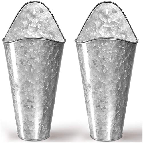 Hallops Galvanized Wall Planters - Two (2) Large Premium. Farmhouse Metal Hanging Vase. Rustic Decor. Tall Container for Flowers or Planets. Tin Style Bucket or Pocket
