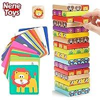 Nene Toys - Torre de Bloques Infantil de Madera 4 en 1 con Colores y Animales – Juego de Mesa Familiar Educativo para Niños Niñas de 3 a 9 años Compartir Entre Padres e Hijos