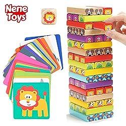 Nene Toys - Torre Magica Colorata in Legno con Animali – Gioco Educativo da Tavolo per Bambini - Gioco Didattico 4 in 1 per Bambini da 3 a 9 anni – Giocattolo Ideale come Regalo per Genitori e Figli