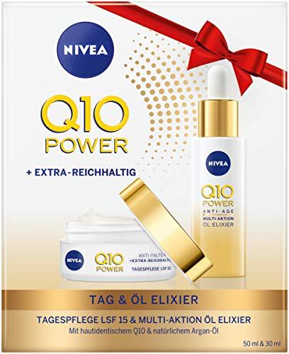 NIVEA Q10 Extra Reichhaltige Tagespflege Geschenkset, mit Q10 Power Extra Reichhaltige Tagespflege und Q10 Power Anti-Age Multi Aktion Öl Elixier, Wellness Geschenk