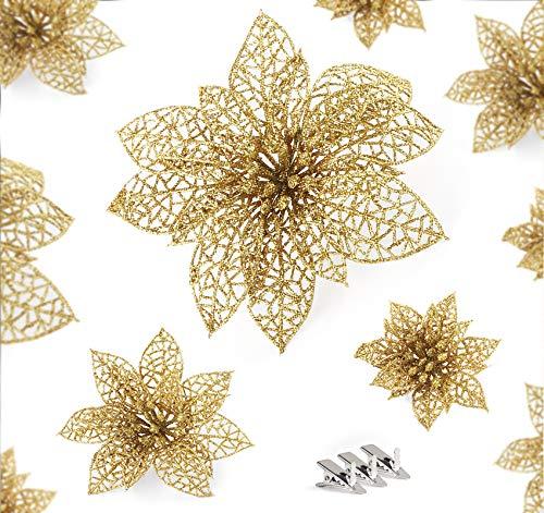 ilauke Glitter Weihnachten Blumen Ornamente 30 Stück Glitter Poinsettia Blumen mit 35 Stück Halteklammer, Künstliche Blumen Weihnachtsblume Dekor für Weihnachten, Weihnachtsbaum,Kränze,Hochzeit (Gold)