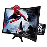 CameCosy 14' Phone Screen Magnifier, 3D HD Movie Screen Magnifying with Curved Surface Design Movies Videos Amplifier Foldable Mobile Phone Stand Screen Amplifier for All Smartphones,Black