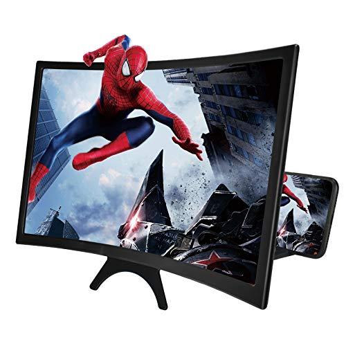 """Newseego 14"""" Handy-Bildschirmlupe, 3D HD Bildschirmlupe mit Gekrümmter Oberfläche Design Filme Videos Verstärker Faltbarer Handyhalter - Bildschirmverstärker für alle Smartphones - Schwarz"""