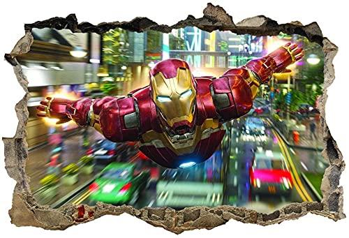 LCFF Pegatinas de Pared Iron Man 3D Etiqueta de la Pared Avengers Super Hero Nursery Decoraciones de Pared Murales Calcomanías 60x90cm Vinilo Fondo de Pantalla Decoración de la Pared