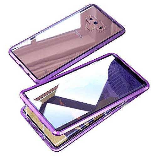 Jonwelsy Hülle für Samsung Galaxy Note 9, Magnetische Adsorption Metall Stoßstange Flip Cover mit 360 Grad Schutz Doppelte Seiten Transparent Gehärtetes Glas Handyhülle für Samsung Note 9