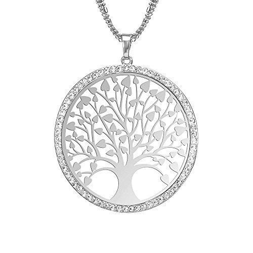 Art- und Weisefrauen-Halskette, keltischer Baum des Lebens hängende Halskette für Mädchen langkettige Mantel-Halskette mit CZ-Kristall (Versilbert)
