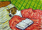 Jack Russell Terrier jrt dog sleeping in bed with a book signed art print