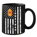Personalized Name Rank United States US Marine Corps Soldier Military Veteran First Responder Black Ceramic Coffee Tea Mug 11 - 15 oz Cup (Custom Marines)
